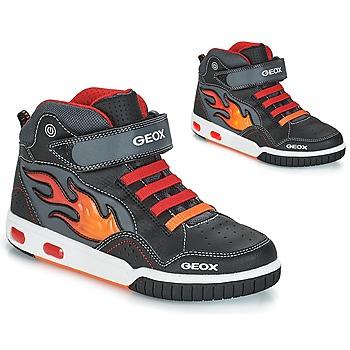 Schoenen Jongens Hoge sneakers Geox JR GREGG Zwart / Rood