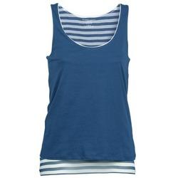 Textiel Dames Mouwloze tops Majestic BLANDINE Marine / Wit