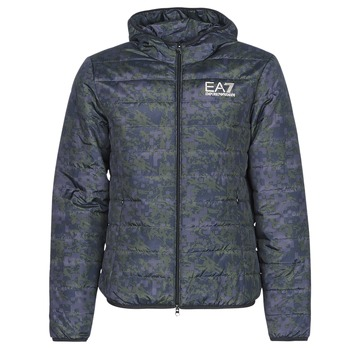 Textiel Heren Dons gevoerde jassen Emporio Armani EA7 TRAIN GRAPHIC SERIES M JACKET HOODIE ALL OVER CAMOU Kaki / Blauw