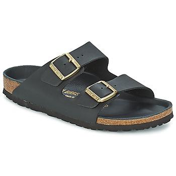 Schoenen Dames Leren slippers Birkenstock ARIZONA Zwart / Goud