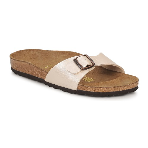 Schoenen Dames Leren slippers Birkenstock MADRID Creme