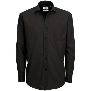 Textiel Heren Overhemden lange mouwen B And C Poplin Zwart