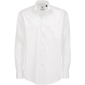 Textiel Heren Overhemden lange mouwen B And C Poplin Wit