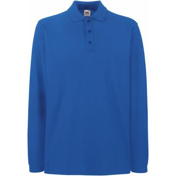 Textiel Heren Polo's lange mouwen Fruit Of The Loom Premium Royaal Blauw