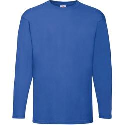 Textiel Heren T-shirts met lange mouwen Fruit Of The Loom Valueweight Royaal Blauw