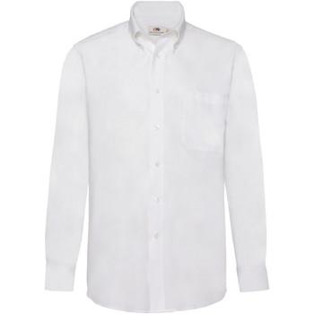 Textiel Heren Overhemden lange mouwen Fruit Of The Loom Oxford Wit
