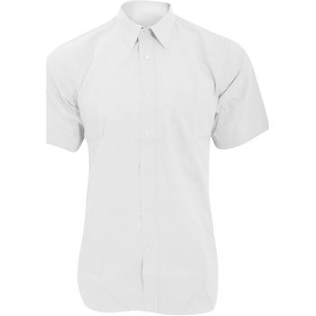 Textiel Heren Overhemden korte mouwen Fruit Of The Loom Poplin Wit