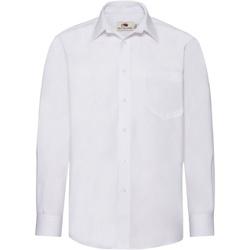 Textiel Heren Overhemden lange mouwen Fruit Of The Loom Poplin Wit