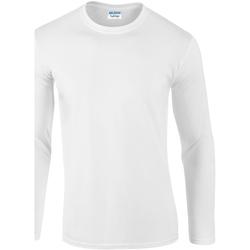 Textiel Heren T-shirts met lange mouwen Gildan Soft Style Wit