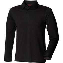 Textiel Heren Polo's lange mouwen Skinni Fit Stretch Zwart