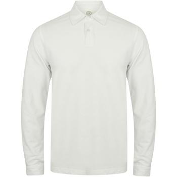Textiel Heren Polo's lange mouwen Skinni Fit Stretch Wit