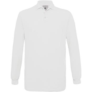 Textiel Heren Polo's lange mouwen B And C Safran Wit