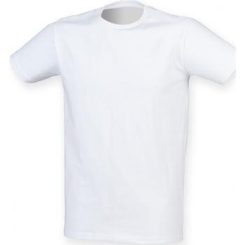 Textiel Heren T-shirts korte mouwen Skinni Fit Stretch Wit