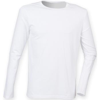 Textiel Heren T-shirts met lange mouwen Skinni Fit Stretch Wit