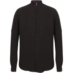 Textiel Heren Overhemden lange mouwen Henbury Mandarin Zwart