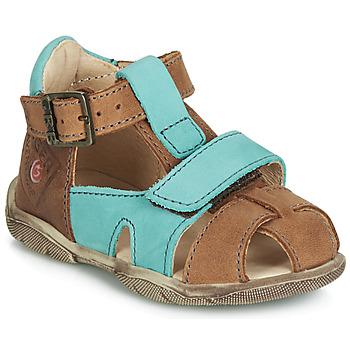 Schoenen Jongens Sandalen / Open schoenen GBB SEROLO Nub / Licht bruin-turkoois / Dpf / Filou