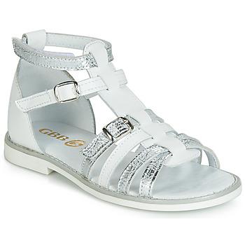 Schoenen Meisjes Sandalen / Open schoenen GBB MONELA Wit / Zilver