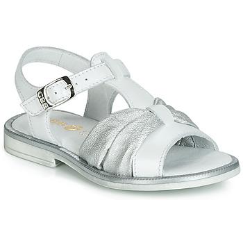 Schoenen Meisjes Sandalen / Open schoenen GBB MESSENA Wit / Zilver