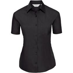 Textiel Dames Overhemden Russell Poplin Zwart