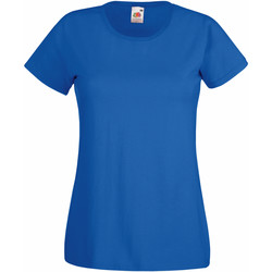 Textiel Dames T-shirts korte mouwen Fruit Of The Loom 61372 Royaal Blauw