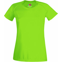Textiel Dames T-shirts korte mouwen Fruit Of The Loom Performance Lime