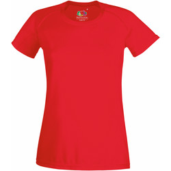 Textiel Dames T-shirts korte mouwen Fruit Of The Loom Performance Rood