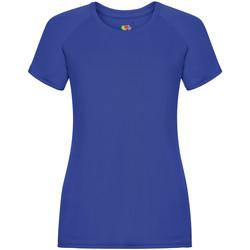 Textiel Dames T-shirts korte mouwen Fruit Of The Loom Performance Royaal Blauw