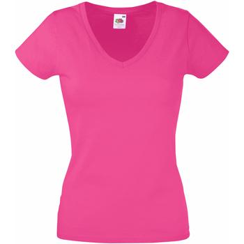 Textiel Dames T-shirts korte mouwen Fruit Of The Loom 61398 Fuchsia