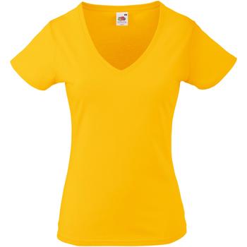 Textiel Dames T-shirts korte mouwen Fruit Of The Loom 61398 Zonnebloem