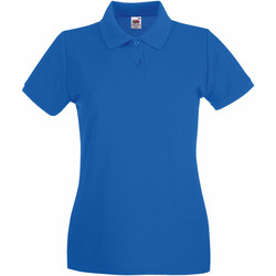 Textiel Dames Polo's korte mouwen Fruit Of The Loom Premium Royaal Blauw
