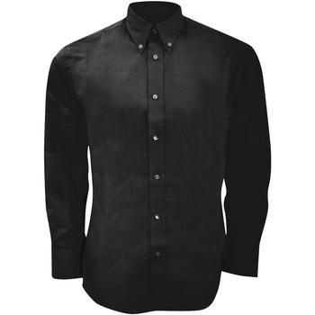 Textiel Heren Overhemden lange mouwen Kustom Kit Oxford Zwart