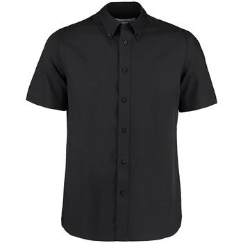 Textiel Heren Overhemden korte mouwen Kustom Kit KK385 Zwart