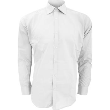 Textiel Heren Overhemden lange mouwen Kustom Kit Slim Fit Wit