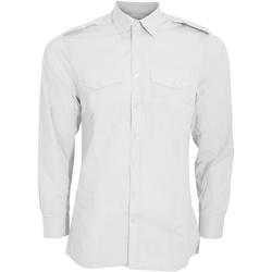 Textiel Heren Overhemden lange mouwen Kustom Kit KK134 Wit