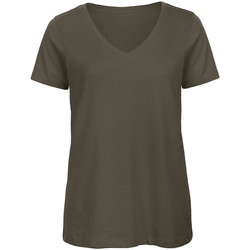 Textiel Dames T-shirts korte mouwen B And C Organic Khaki