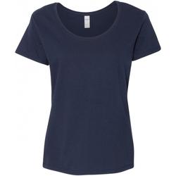 Textiel Dames T-shirts korte mouwen Gildan Scoop Marine