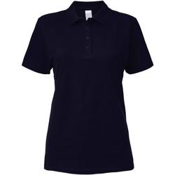 Textiel Dames Polo's korte mouwen Gildan Pique Marine