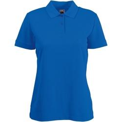 Textiel Dames Polo's korte mouwen Fruit Of The Loom 63212 Royaal Blauw