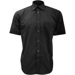 Textiel Heren Overhemden korte mouwen Kustom Kit Business Zwart
