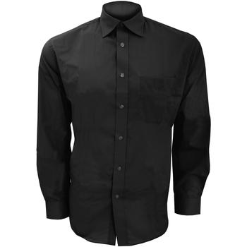 Textiel Heren Overhemden lange mouwen Kustom Kit KK104 Zwart