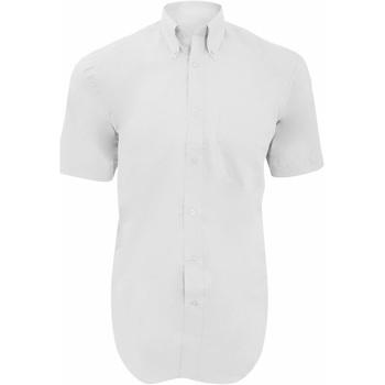Textiel Heren Overhemden korte mouwen Kustom Kit Oxford Wit