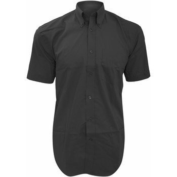 Textiel Heren Overhemden korte mouwen Kustom Kit Oxford Houtskool