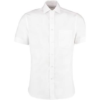 Textiel Heren Overhemden korte mouwen Kustom Kit Premium Wit