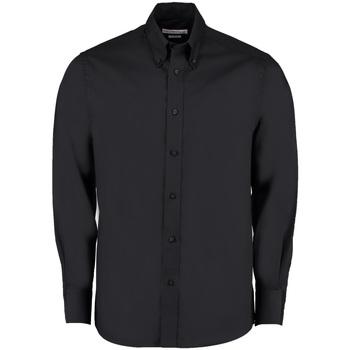 Textiel Heren Overhemden lange mouwen Kustom Kit Business Zwart