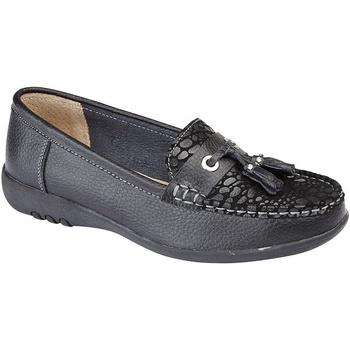Schoenen Dames Mocassins Boulevard Wide Fit Zwart