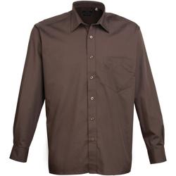 Textiel Heren Overhemden lange mouwen Premier Poplin Bruin