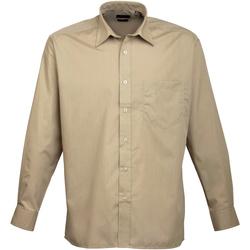 Textiel Heren Overhemden lange mouwen Premier Poplin Khaki