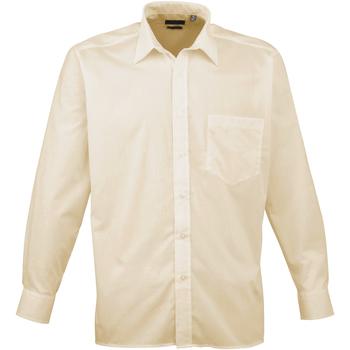 Textiel Heren Overhemden lange mouwen Premier Poplin Natuurlijk