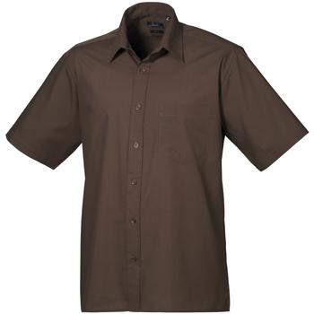 Textiel Heren Overhemden korte mouwen Premier Poplin Bruin
