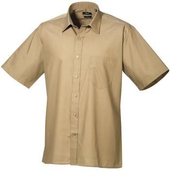 Textiel Heren Overhemden korte mouwen Premier Poplin Khaki